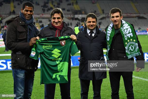 Aldair and Torino FC president Urbano Cairo show the shirt in honor of the tragedy of the Chapecoense team during the Serie A match between Torino FC...