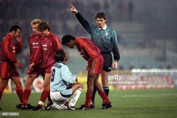 Aldair Roma argues with Casiraghi Lazio