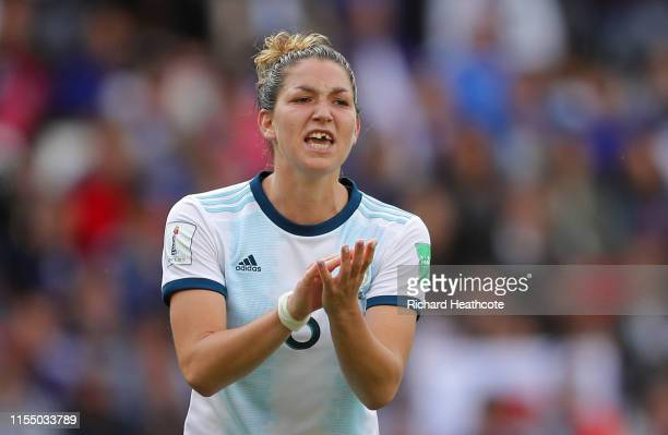 Aldana Cometti of Argentina reacts where her chipped tooth can be seen during the 2019 FIFA Women's World Cup France group D match between Argentina...