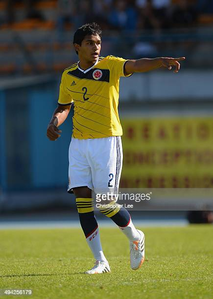 Aldayr Hernandez of Colombia in action during the Toulon Tournament Group B match between Colombia and Qatar at the Stade De Lattre on May 28, 2014...