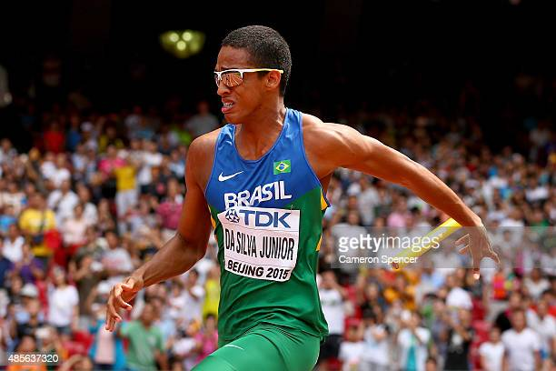 Aldemir Da Silva Junior of Brazil competes in the Men's 4x100 Metres Relay heats during day eight of the 15th IAAF World Athletics Championships...