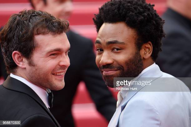 Alden Ehrenreich and Donald Glover attend the screening of 'Solo A Star Wars Story' during the 71st annual Cannes Film Festival at Palais des...