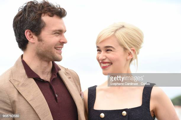 Alden Ehrenreich and Emilia Clarke attend 'Solo A Star Wars Story' Photocall during the 71st annual Cannes Film Festival at Palais des Festivals on...