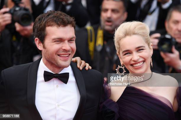 Alden Ehrenreich and Emilia Clarke attend the screening of 'Solo A Star Wars Story' during the 71st annual Cannes Film Festival at Palais des...