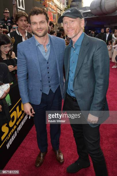 Alden Ehrenreich and Ron Howard attend the premiere of Disney Pictures and Lucasfilm's Solo A Star Wars Story at the El Capitan Theatre on May 10...