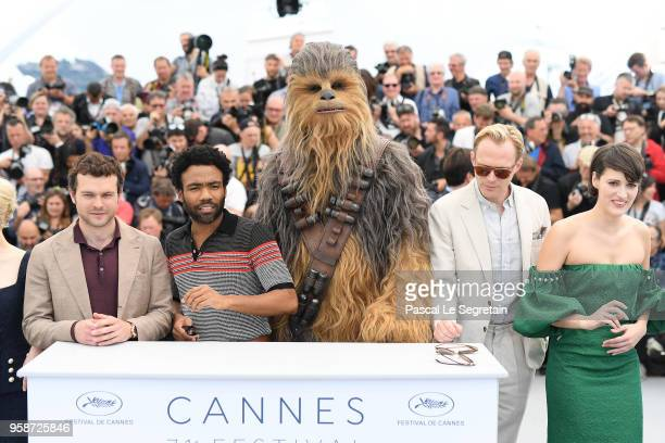 Alden Ehrenreich Donald Glover Chewbacca Paul Bettany and Phoebe WallerBridge attends the photocall for 'Solo A Star Wars Story' during the 71st...
