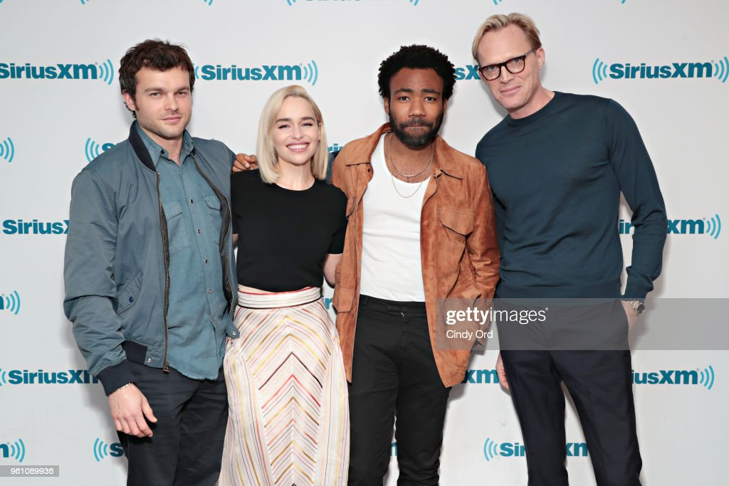 Alden Ehrenreich, Emilia Clarke, Donald Glover and Paul Bettany take part in SiriusXM's Town Hall with the cast of Solo: A Star Wars Story hosted by SiriusXM's Dalton Ross at SiriusXM Studios on May 21, 2018 in New York City.
