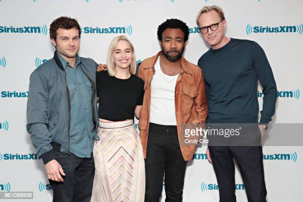 Alden Ehrenreich Emilia Clarke Donald Glover and Paul Bettany take part in SiriusXM's Town Hall with the cast of Solo A Star Wars Story hosted by...