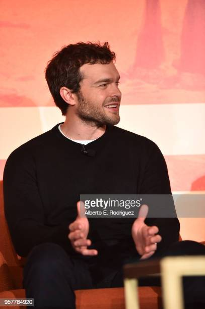 Alden Ehrenreich participates in a press conference in Los Angeles on May 12 2018 for 'Solo A Star Wars Story' which opens in US theaters on May 25