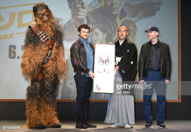 Alden Ehrenreich Ron Howard and Ebizo Ichikawa attend the Solo A Star Wars Story Press Conference at Midtown Hall on June 11 2018 in Tokyo Japan