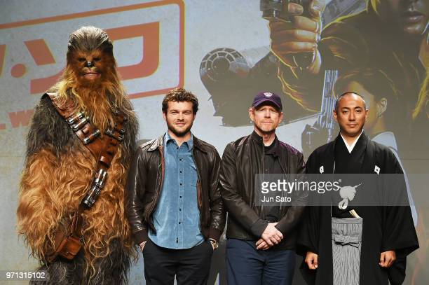 Alden Ehrenreich Ron Howard and Ebizo Ichikawa attends the Solo A Star Wars Story Press Conference at Midtown Hall on June 11 2018 in Tokyo Japan
