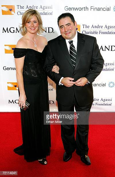 Alden Lovelace and Emeril Lagasse arrive at the 11th annual Andre Agassi Charitable Foundation's Grand Slam benefit concert at the MGM Grand Garden...