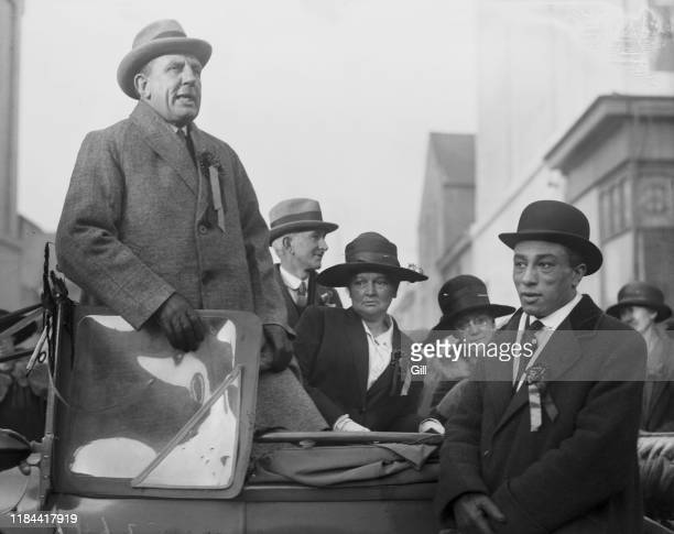 Alderman James John Hamlyn Moses addressing a crowd in Plymouth, during the UK general election campaign, November 1923. Moses is the Labour Party...