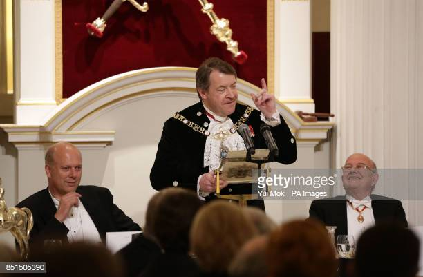 Alderman Roger Gifford the Lord Mayor of London speaking as Justice Secretary Chris Grayling and Lord Judge the Lord Chief Justice listen during the...
