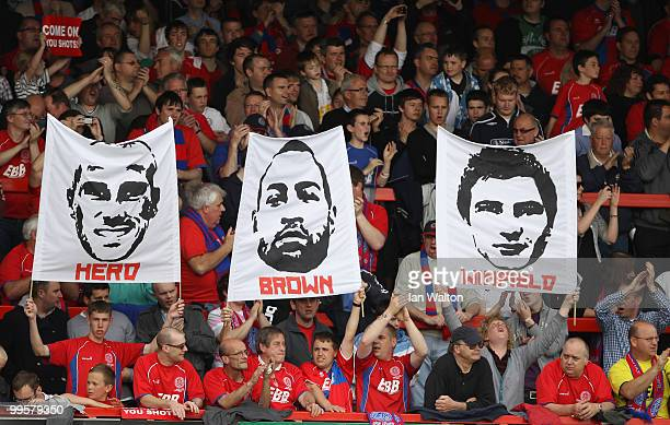 Aldershot Town fans during the League Two Playoff Semi Final 1st Leg match between Aldershot Town and Rotherham United at the EBB Stadium on May 15...