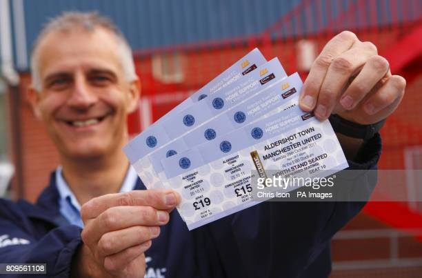 Aldershot Town FC supporter Neil Lampard who was first in the queue for Manchester United tickets at the EBB Stadium Aldershot