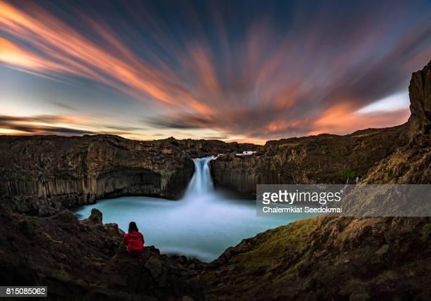 aldeyjarfoss waterfall in summer - husavik stock photos and pictures