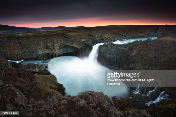 Aldeyjarfoss Waterfall sunrise in Iceland