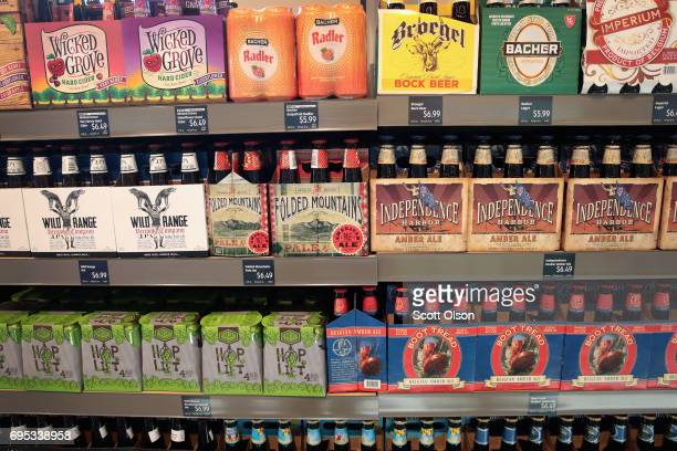 Aldi branded craft beer is offered for sale at an Aldi grocery store on June 12 2017 in Chicago Illinois Aldi has announced plans to open 900 new...