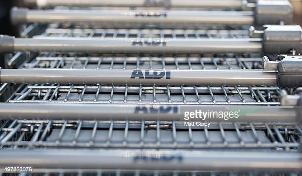 Aldi shopping trolleys are stacked outside a branch of the supermarket on November 18 2015 in Bristol England As the crucial Christmas retail period...