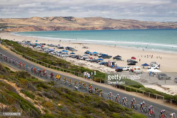 Aldinga beach / Landscape / Dunes / Peloton / Ocean / during the 22nd Santos Tour Down Under 2020, Stage 6 a 151,5km stage from McLaren Vale to...