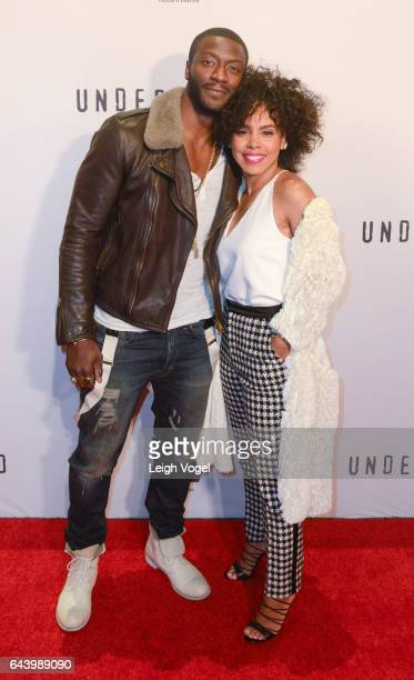 Aldis Hodge and Amirah Vann arrive at WGN America's Underground Season Two Premiere Screening At The Smithsonian National Museum Of African American...