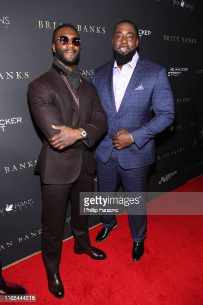 Aldis Hodge and Brian Banks attends the Los Angeles special screening of Bleeker Street's Brian Banks at Edwards Long Beach Stadium 26 IMAX on July...