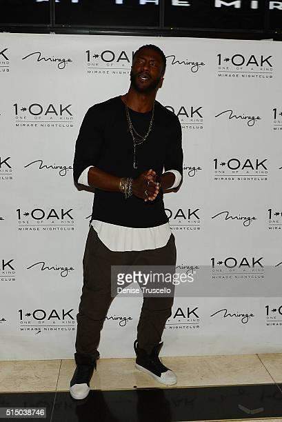 Aldis Hodge arrives at 1 OAK Nightclub at The Mirage Hotel Casino on March 11 2016 in Las Vegas Nevada