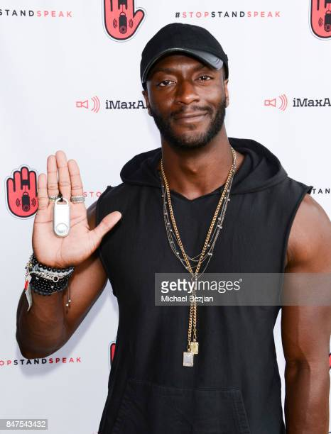 Aldis Hodge attends iMaxAlarm pledges to #StopStandSpeak against Street Harassment at the GBK Pilot Pen Pre Awards Celebrity Lounge 2017 Day 1 on...
