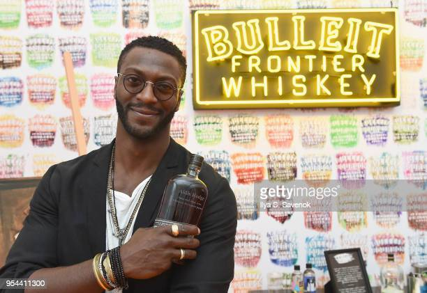 Aldis Hodge celebrates the national launch of Frontier Works Bottle Impressions in the Bulleit Frontier Whiskey Lounge at Frieze New York on May 3...