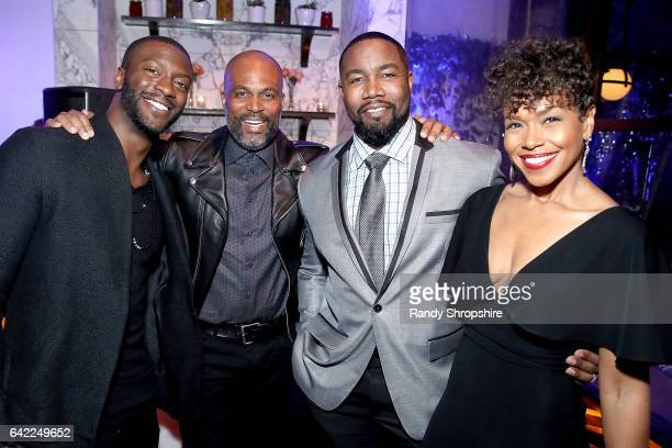 Aldis Hodge Chris Spencer Michael Jai White and Gillian White attend Pre ABFF Honors Cocktail Party hosted by Debra L Lee Jeff Friday at Cecconi's on...