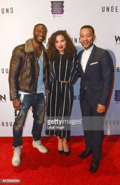 Aldis Hodge Jurnee SmollettBell and John Legend arrive at WGN America's 'Underground' Season Two Premiere Screening At The Smithsonian National...