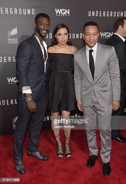 Aldis Hodge Jurnee SmollettBell and John Legend attend the premiere of WGN America's Underground at The Theatre At The Ace Hotel on March 2 2016 in...