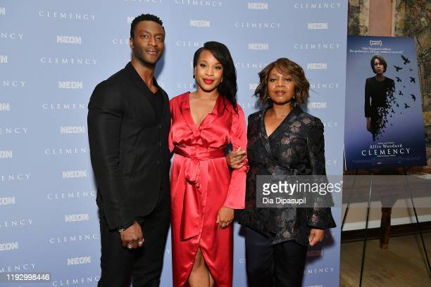 Aldis Hodge writer/director Chinonye Chukwu and Alfre Woodard attend the Clemency New York screening at the Whitby Hotel on December 09 2019 in New...