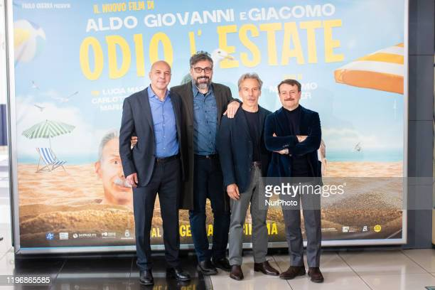 Aldo Baglio Brunori Sas Giovanni Storti Giacomo Poretti during the photocall film 'Odio L'Estate' at Cinema Adriano in Rome Italy on 27 January 2020