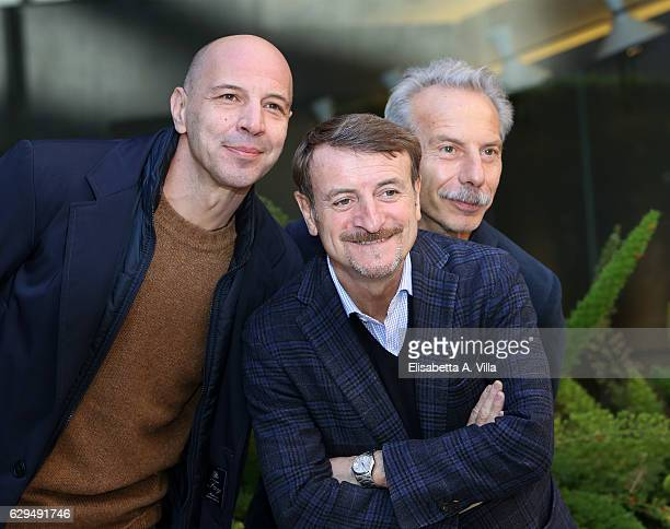 Aldo Baglio Giacomo Poretti and Giovanni Storti aka Aldo Giovanni e Giacomo attend a photocall for 'Fuga Da Reuma Park' at Visconti Palace on...