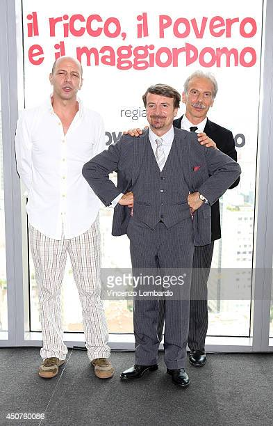 Aldo Baglio Giovanni Storti and Giacomo Poretti known as Aldo Giovanni e Giacomo attend the 'Il Ricco Il Povero E Il Maggiordomo' On Set Photocall on...