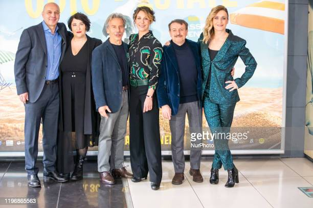 Aldo Baglio Maria De Biase Giovanni Storti Carlotta Natoli Giacomo Poretti Lucia Mascino during the photocall film 'Odio L'Estate' at Cinema Adriano...
