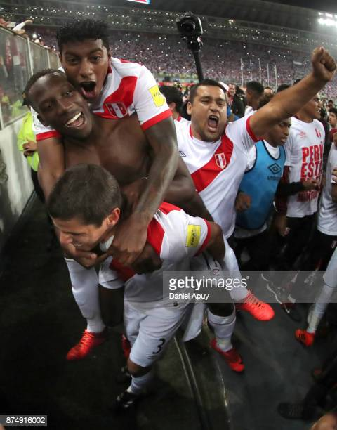 Aldo Corzo Luis Advincula and Miguel Araujo of Peru celebrates the qualification after the second leg match between Peru and New Zealand as part of...
