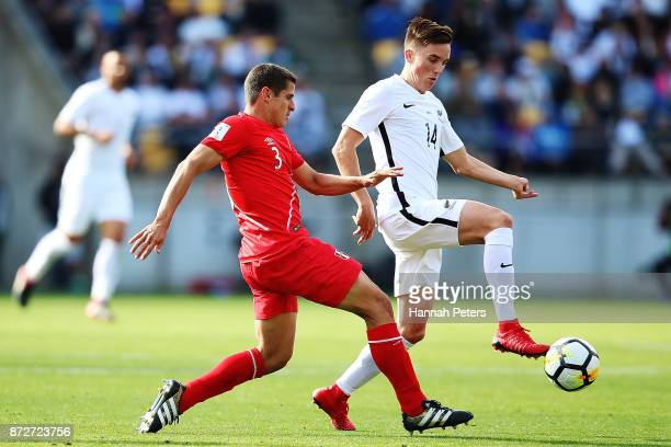 Aldo Corzo of Peru competes with Ryan Thomas of the All Whites during the 2018 FIFA World Cup Qualifier match between the New Zealand All Whites and...