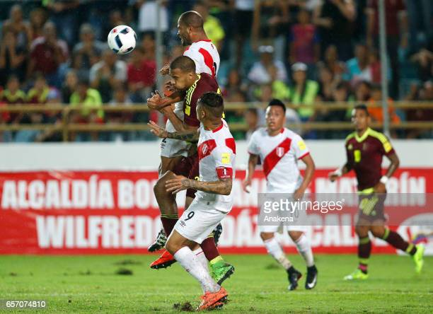 Aldo Corzo of Peru heads the ball during a match between Venezuela and Peru as part of FIFA 2018 World Cup Qualifiers at Monumental de Maturin...