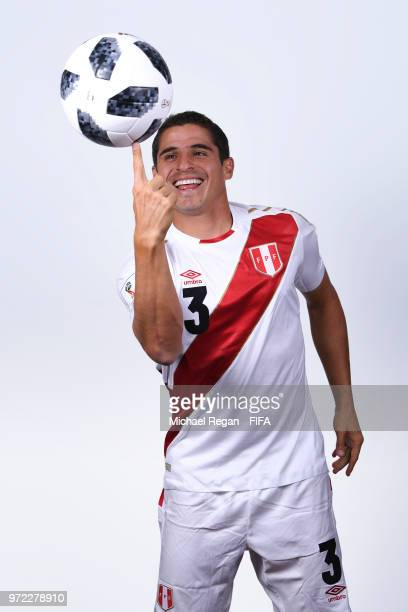 Aldo Corzo of Peru poses for a portrait during the official FIFA World Cup 2018 portrait session at the Team Hotel on June 11 2018 in Moscow Russia