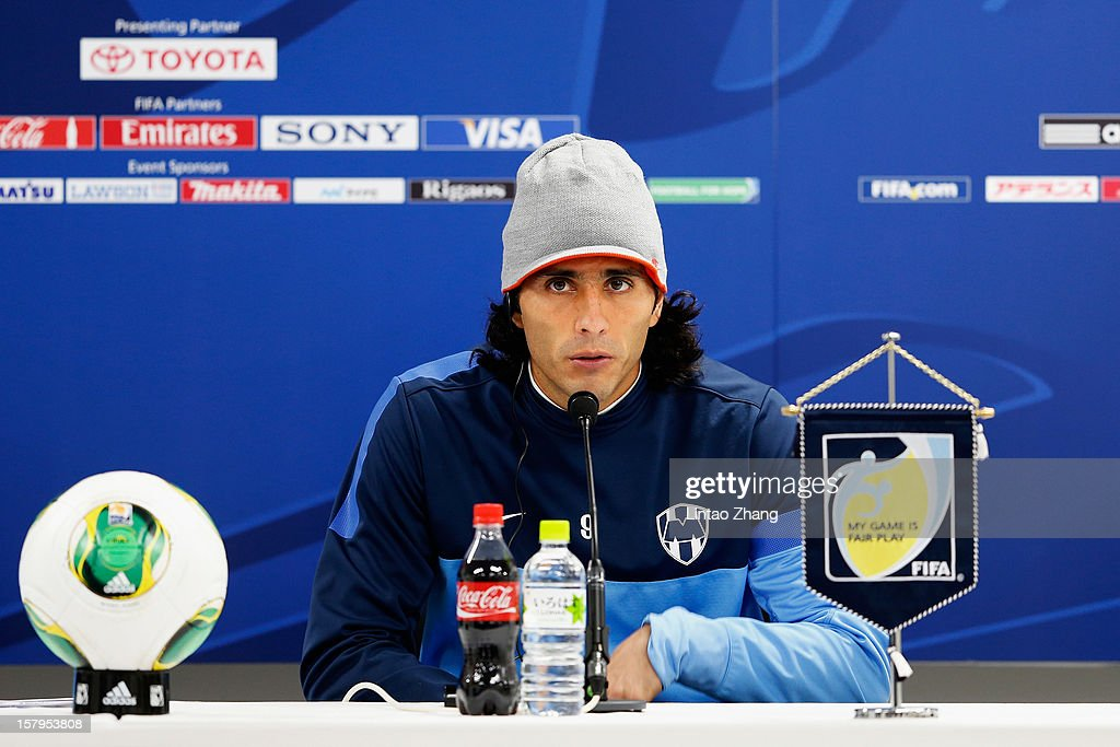 Aldo de Nigris of Monterrey answers a question during a CF Monterrey press conference at Toyota Stadium on December 8, 2012 in Toyota, Japan.