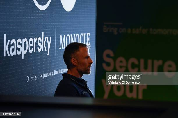 Aldo del Bo' attend M24 pop up radio at Kaspersky Lounge during Starmus V A Giant Leap sponsored by Kaspersky at Samsung Hall on June 26 in Zurich...
