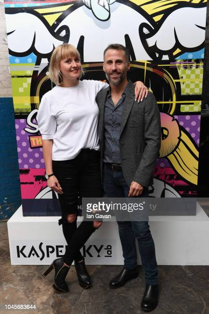 Aldo del Bo of Kaspersky Lab and Tina Ziegler Director of Moniker Art Fair attend the unveiling of the firstever Formula art car by Kaspersky Lab and...