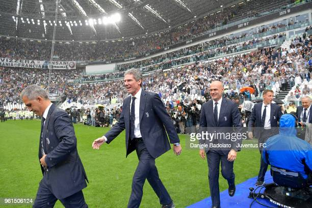 Aldo Dolcetti Claudio Filippi and Simone Folletti of Juventus in action during the serie A match between Juventus and Hellas Verona FC at Allianz...