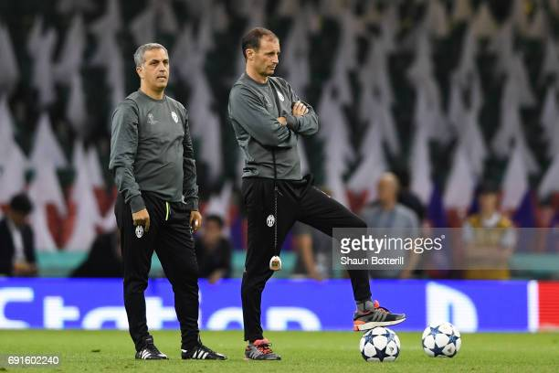 Aldo Dolcetti Juventus technical assistant and Massimiliano Allegri Manager of Juventus look on during a Juventus training session prior to the UEFA...