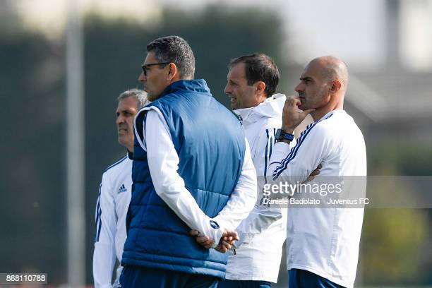 Aldo Dolcetti Marco Landucci Massimiliano Allegri and Simone Folletti during a Juventus training session at Juventus Center Vinovo on October 30 2017...