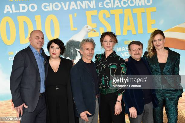 Aldo Giovanni e Giacomo Lucia Mascino Carlotta Natoli and Maria Di Biase during the photocall of the film Odio l'estate at the Cinema Adriano Rome...