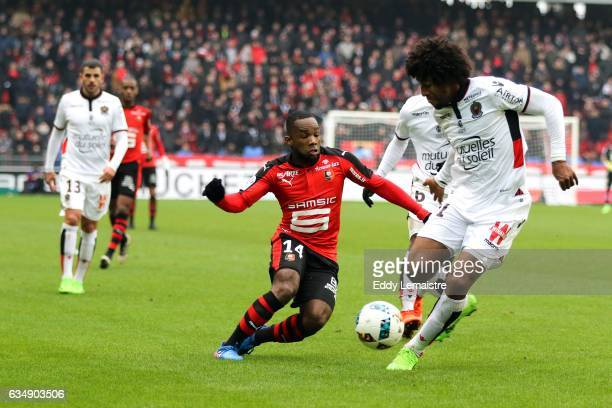 Aldo Kalulu of Rennes and Costa Dante of Nice during the Ligue 1 match between Stade Rennais and OGC Nice at Roazhon Park on February 12 2017 in...